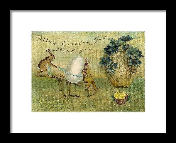 Rabbits Framed Print featuring the digital art May Easter Joy Attend You by Sarah Vernon