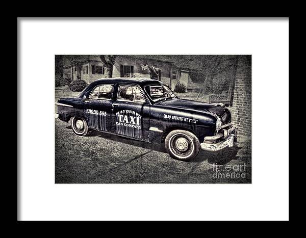 Andy Griffith Framed Print featuring the photograph Mayberry Taxi by David Arment