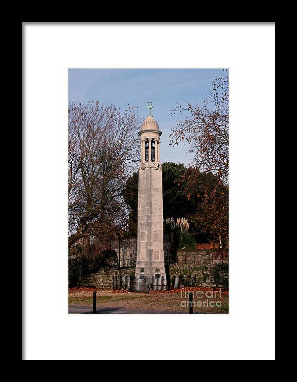 Pilgrim Fathers Monument Framed Print featuring the photograph Mayflower Memorial Southampton England by Terri Waters