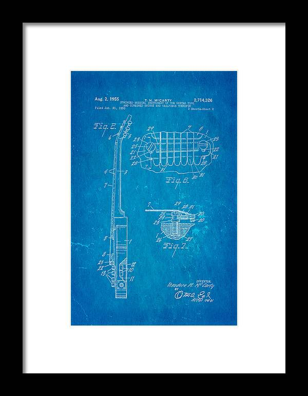 Famous Framed Print featuring the photograph Mccarty Gibson Les Paul Guitar 2 Patent Art 1955 Blueprint by Ian Monk