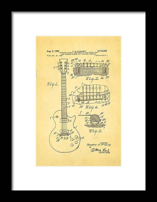Famous Framed Print featuring the photograph Mccarty Gibson Les Paul Guitar Patent Art 1955 by Ian Monk