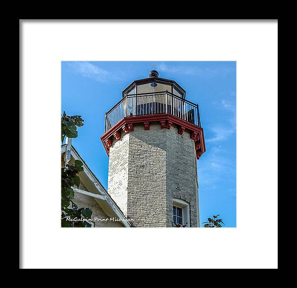 Mcgulpin Point Lighthouse Michigan Framed Print featuring the photograph Mcgulpin Point Lighthouse Michigan by LeeAnn McLaneGoetz McLaneGoetzStudioLLCcom