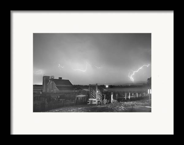 Lightning Framed Print featuring the photograph Mcintosh Farm Lightning Thunderstorm View Bw by James BO Insogna