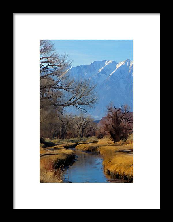Owens Valley Framed Print featuring the mixed media Meandering by Frank Lee Hawkins