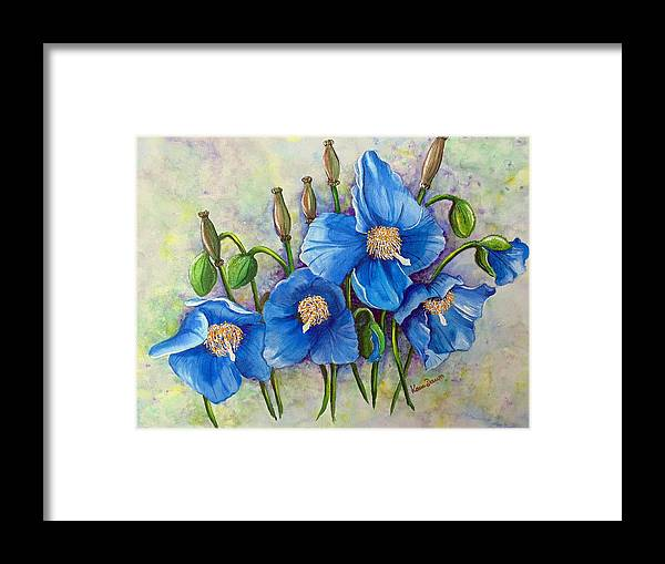 Blue Hymalayan Poppy Framed Print featuring the painting MECONOPSIS  Himalayan Blue Poppy by Karin Dawn Kelshall- Best