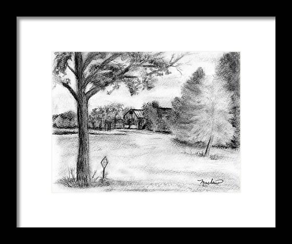 Farm Framed Print featuring the drawing Medford Farm by Sheila Mashaw