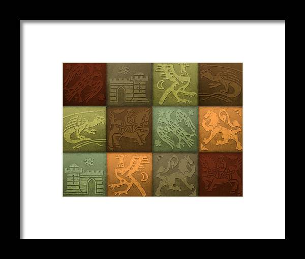 Medieval Framed Print featuring the painting Medieval 12-tile Collage Autumn Colors by S L Kellaway