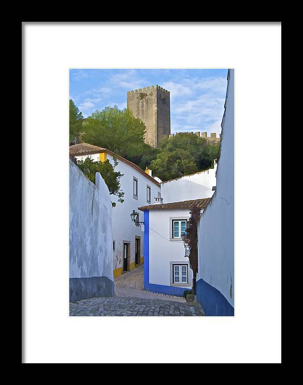 Blue Framed Print featuring the photograph Medieval Castle Of Obidos by David Letts