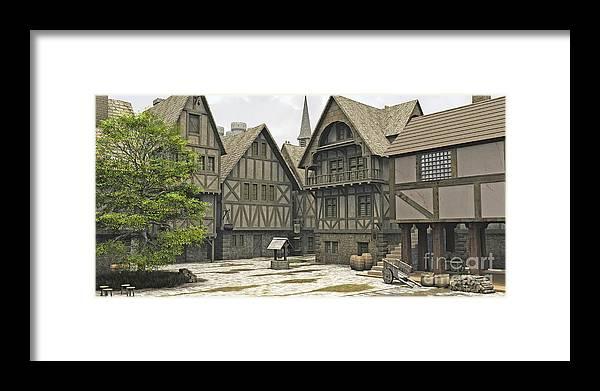 Medieval Or Fantasy Town Centre Marketplace Framed Print