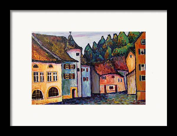 Medieval Framed Print featuring the painting Medieval Village Of St. Ursanne Switzerland by Art Nomad Sandra Hansen