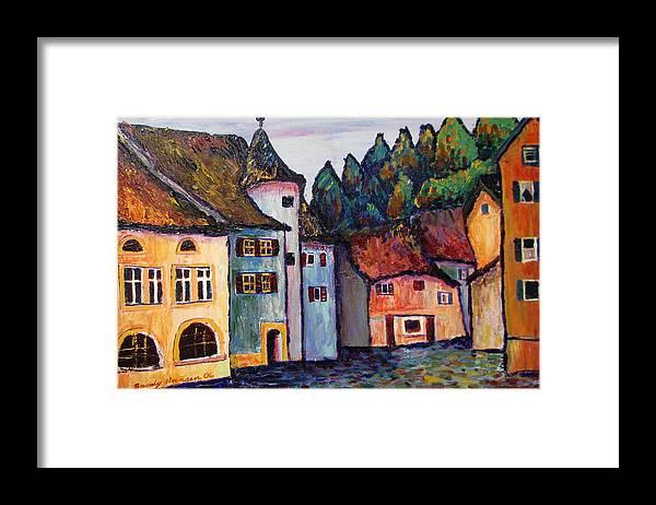 Medieval Framed Print featuring the painting Medieval Village Of St. Ursanne Switzerland by Art Nomad Sandra Hansen