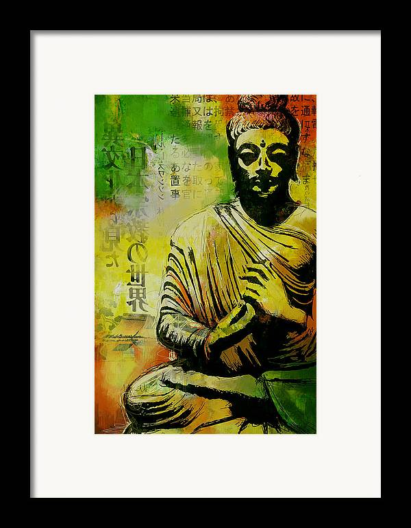 Corporate Art Task Force Framed Print featuring the painting Meditating Buddha by Corporate Art Task Force