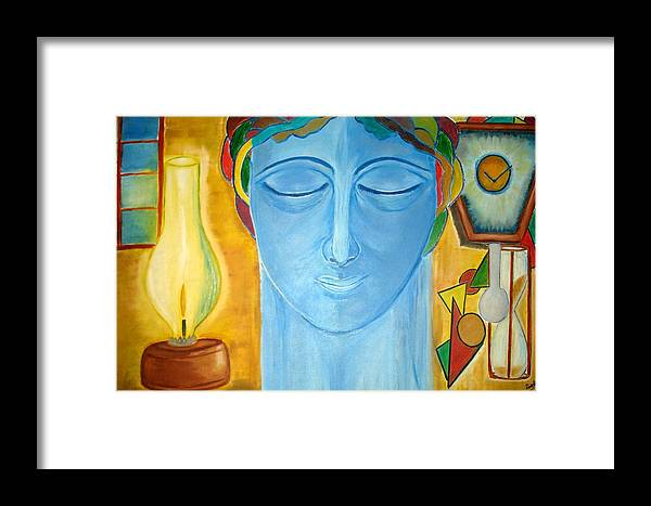 A Blue Face Framed Print featuring the painting Meditating Thoughts by Minakshi Sanyal Chakraborty