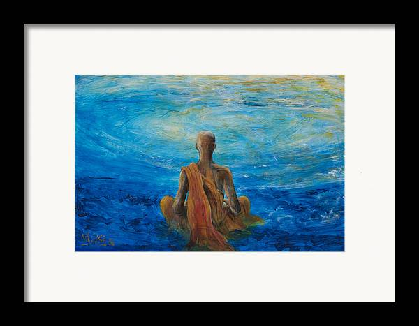 Monk Framed Print featuring the painting Meditation by Nik Helbig