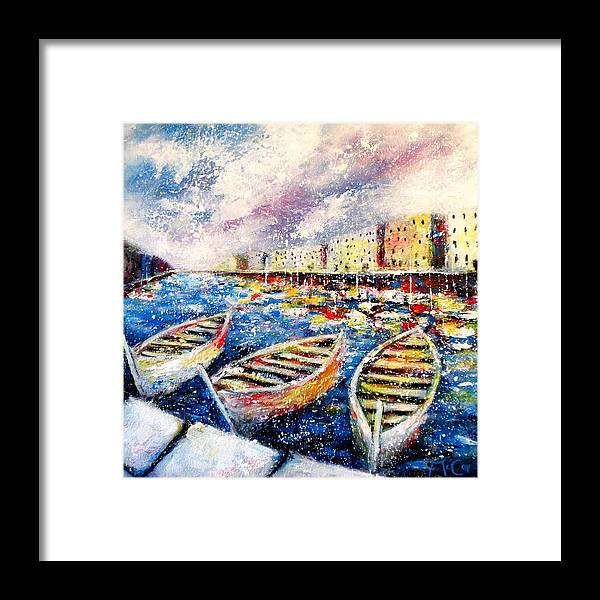 Colourful Framed Print featuring the painting Mediterranean Port Colours by K McCoy
