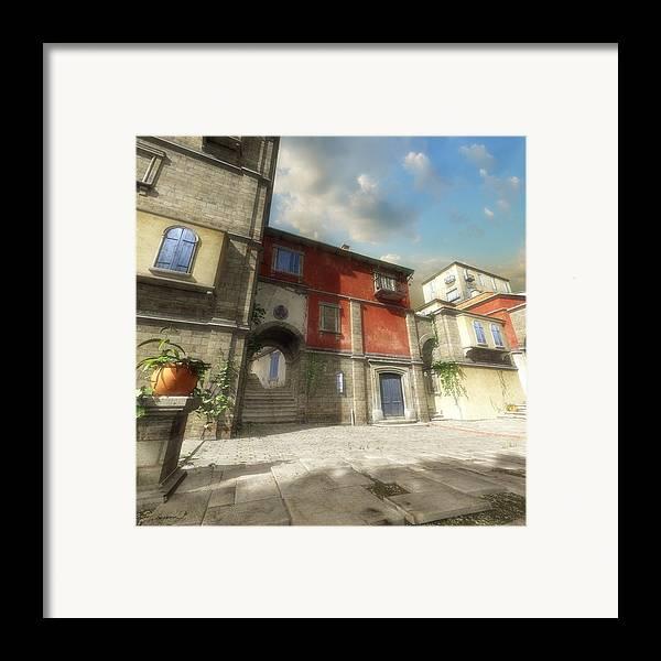 Mediterranean Framed Print featuring the digital art Mediterranean Street by Cynthia Decker
