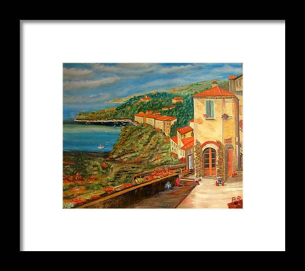 Coast Framed Print featuring the painting Mediterrean Coast by Kenneth LePoidevin