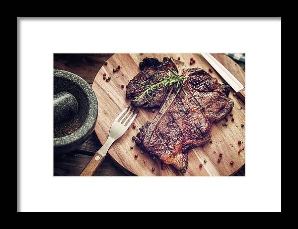 Rosemary Framed Print featuring the photograph Medium Roasted T-bone Steak by Gmvozd