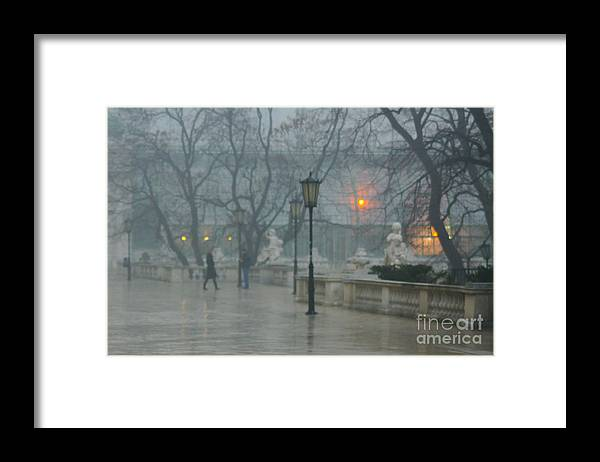 Impressionist Framed Print featuring the photograph Meeting In The Rain by Carol Weitz
