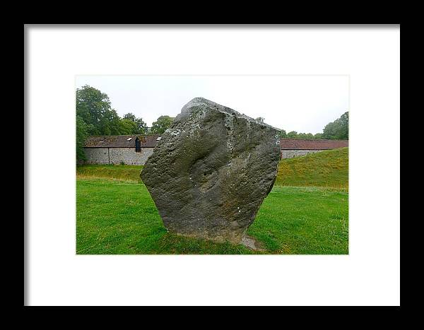 Avebury Framed Print featuring the photograph Megalith At Avebury by Denise Mazzocco