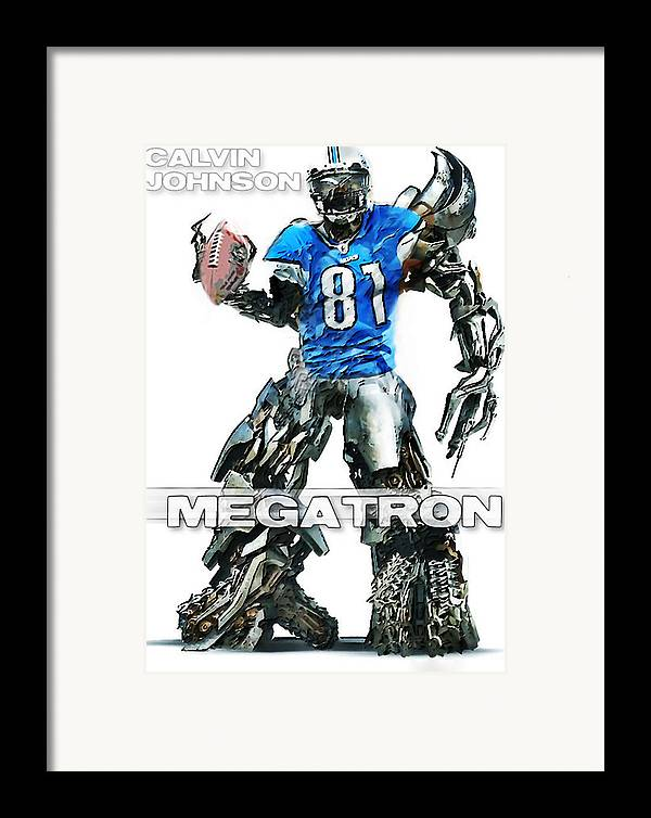 Nfl Framed Print featuring the digital art Megatron-calvin Johnson by Peter Chilelli