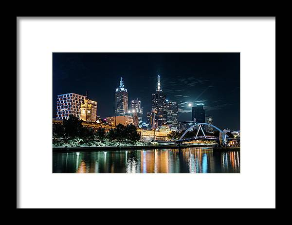 Clock Tower Framed Print featuring the photograph Melbourne In Night by Kenji Lau