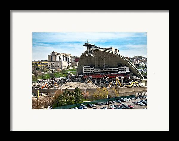 Bulldozers Framed Print featuring the photograph Mellon Arena Partially Deconstructed by Amy Cicconi