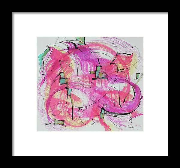 Abstract Painting Framed Print featuring the painting Melody In Magenta  Insight Comes by Asha Carolyn Young