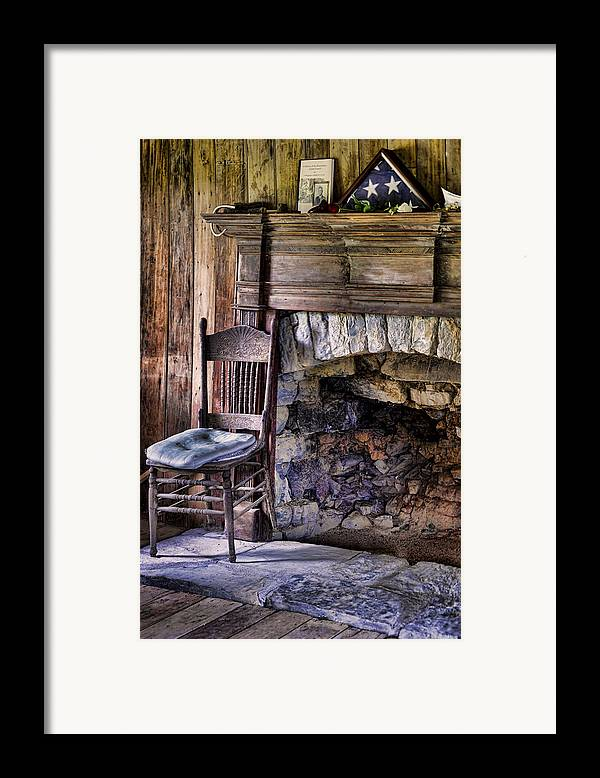 Fireplace Framed Print featuring the photograph Memories by Heather Applegate