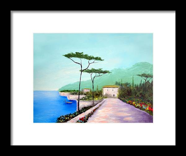 Lake Como Framed Print featuring the painting Memories Of Lake Como by Larry Cirigliano