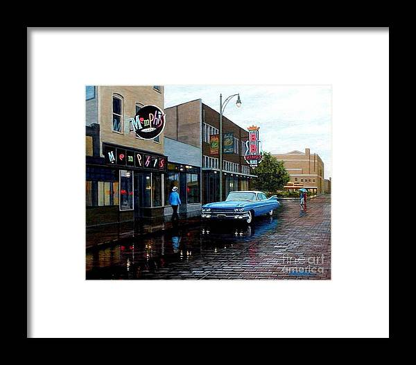 Cityscape Framed Print featuring the painting Memphis Blues by Frank Dalton