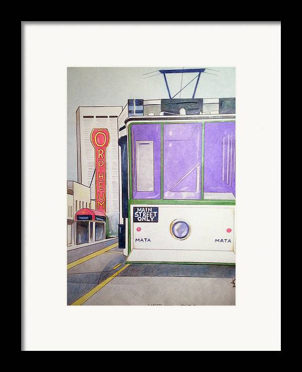 Landscape Framed Print featuring the drawing Memphis Trolley by Loretta Nash
