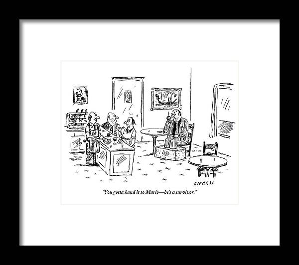 Mobster Framed Print featuring the drawing Men In A Restaurant Discuss A Patron Whose Feet by David Sipress