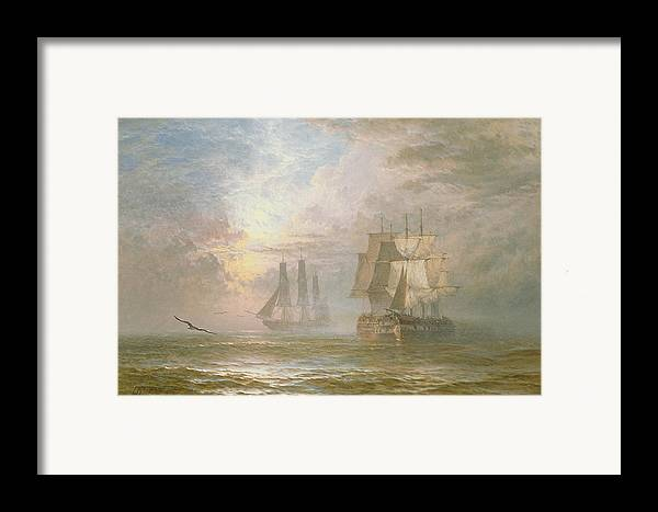 Seagulls Framed Print featuring the painting Men Of War At Anchor by Henry Thomas Dawson
