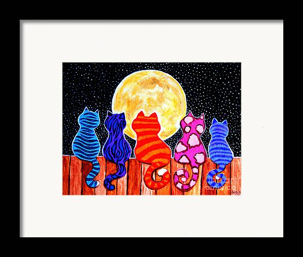 Cats Framed Print featuring the painting Meowing At Midnight by Nick Gustafson
