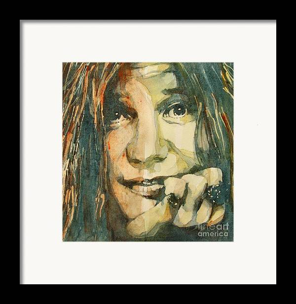 Janis Joplin Framed Print featuring the painting Mercedes Benz by Paul Lovering