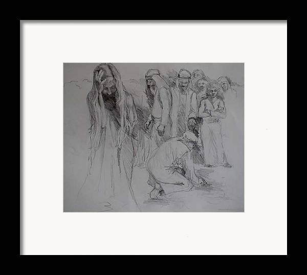 People Framed Print featuring the drawing Mercy Sketch by Jani Freimann
