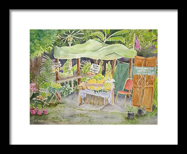 Fruit Stand Framed Print featuring the painting Merizo Fruit Stand by Kathleen Rutten