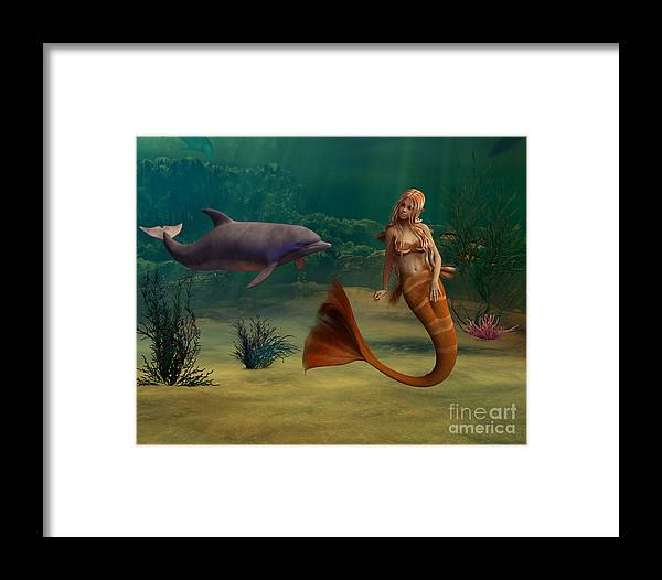 Digital Framed Print featuring the digital art Mermaid And Dolphin by Design Windmill