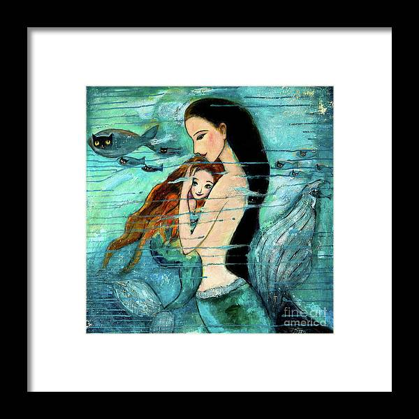Mermaid Art Framed Print featuring the painting Mermaid Mother and Child by Shijun Munns