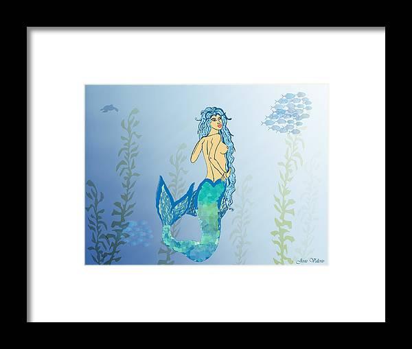 Mermaid Framed Print featuring the painting Mermaid Paint The Sea by Josie Valerio