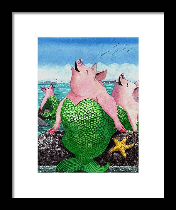 Mermaid Framed Print featuring the painting Merpigs by Catherine G McElroy