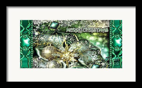Merry Christmas Framed Print featuring the digital art Merry Christmas Green by Mo T