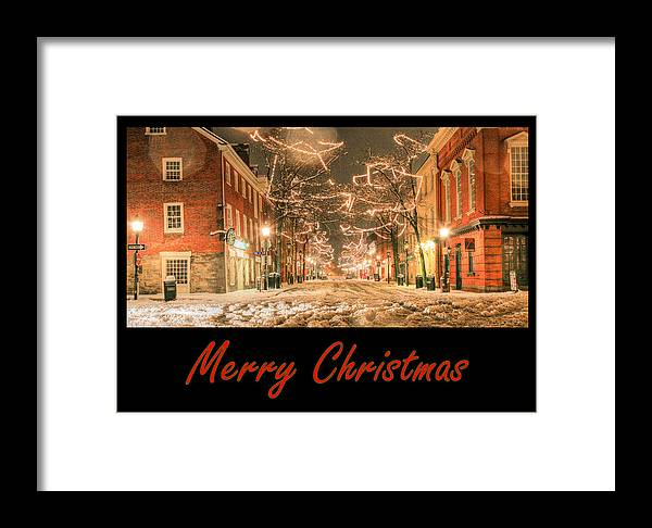 Alexandria Va Virginia King St Street Old Olde Town Towne Winter Xmas Christmas X-mas Card Cards Merry Snow Snowy Blizzard Framed Print featuring the photograph Merry Christmas by JC Findley