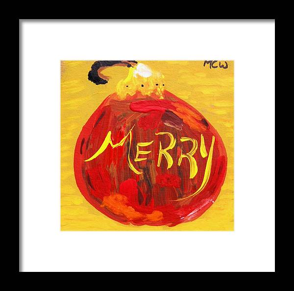 Christmas Framed Print featuring the painting Merry by Mary Carol Williams