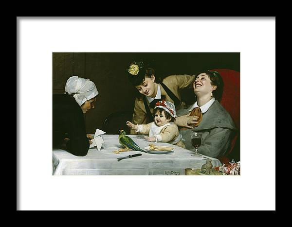 Merrymakers Framed Print featuring the painting Merrymakers by Charles Emile Auguste Carolus-Duran