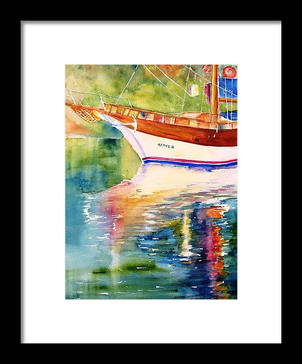 Sail Framed Print featuring the painting Merve II Gulet Yacht Reflections by Carlin Blahnik CarlinArtWatercolor