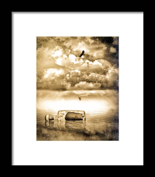 Seascape Framed Print featuring the photograph Message In A Bottle by Bob Orsillo