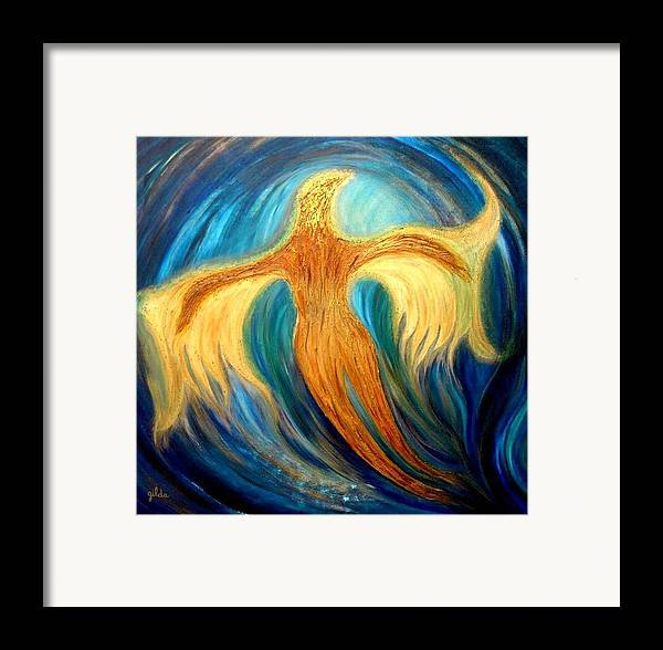 Angel Framed Print featuring the painting Metamorphosis Vii by Gilda Pontbriand