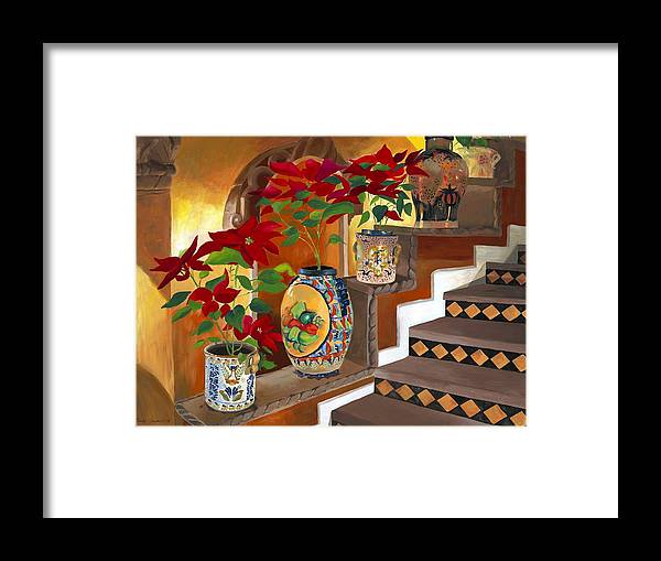 Mexican Pottery Framed Print featuring the painting Mexican Pottery On Staircase by Judy Swerlick